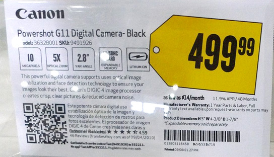 Best Buy fact tag with QR code