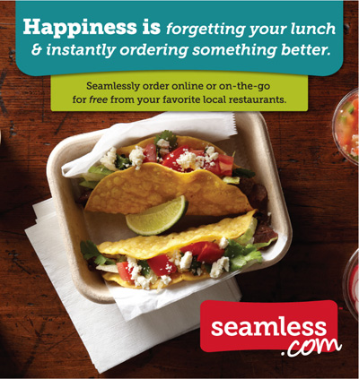 Happiness is forgetting your lunch & instantly ordering something better.
